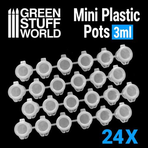Comprar 24x Mini botes de plastico 3ml fabricados por Green Stuff. Comprar 24x Mini botes de plastico 3ml en EGD Games